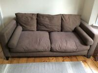 Brown DFS fabric sofa