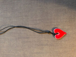 Ceramic Heart on Leather String Necklace
