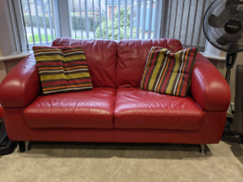 Red Genuine Leather 2 Seater Sofa