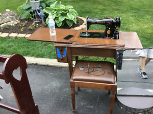 Vintage Singer Sewing Machine Table with Stool