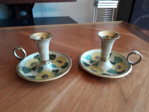 70s RETRO BRASS CANDLE HOLDERS FROM INDIA - 2 SETS