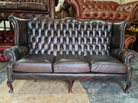 Antique Brown Chesterfield Queen Anne Sofa