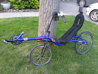 Recumbent bicycle used action bent dual suspended