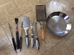 BBQ TOOLS, WOK, AND FISH GRILL BASKET