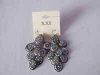 Forever21 Aztec style silver scales with turquoise stone embellishment