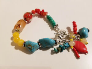 Hand made unique bracelets with natural multi-gemstone.