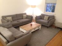 3 piece suite French connection sofas & stool & coffee table