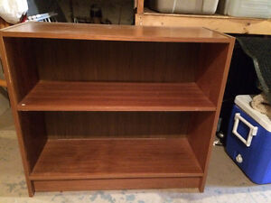 Mid-Century teak veneer shelves & hutch, cedar chest, mini-tramp