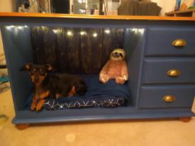 Bespoke solid pine sideboard with cosy doggy sleeping area