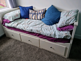 IKEA day bed single pull out double with draws