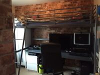 IKEA Svarta Loft Bed Frame with Desktop and Nearly New Mattress and Desk Chair
