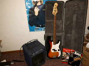 Fender precision bass  guitar with Yorkville bass master 50 amp