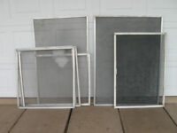 EIGHT ALUMINUM SCREEN-WINDOW FRAMES....ASSORTED SIZES