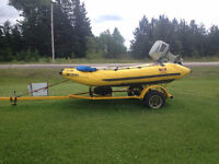 Dux Inflatable with Suzuki DT 65 & trailer (zodiac on steroids)