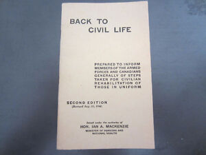 Vintage 1944 WWII Publication...BACK TO CIVIL LIFE