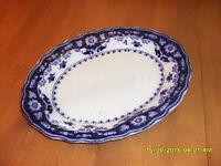 plateau antique Myott Crumlin flow blue platter #3130 Rawdon