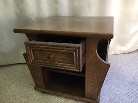 Solid oak magazine table