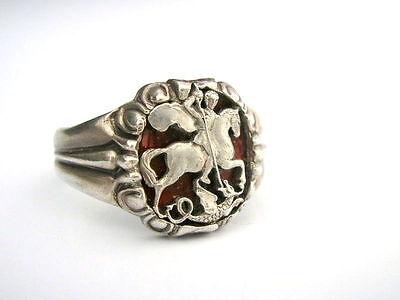 Ring Silber 84 & Emaille St.George Zaren Russland Drachen Töter
