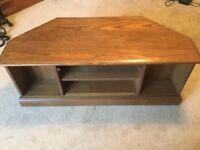 Jentique dark wood corner TV unit