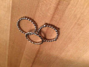 Authentic Fossil Sterling Silver trio rings size 5 1/2 with tin