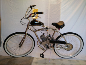 Men's large gas-powered beach cruiser bicycle