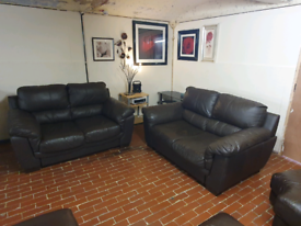 Sofology violino 2+2 seater brown real leather sofa's