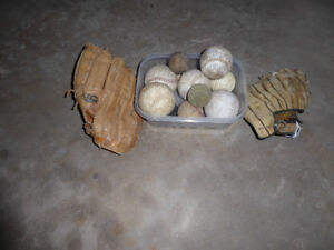 Baseball gloves and baseballs