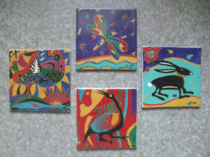 Hand painted 4 inch ceramic tiles