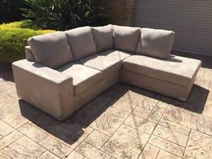 Modular 5 seater + chaise SOFA / COUCH suede fabric -THE BONBEACH Brighton Bayside Area Preview