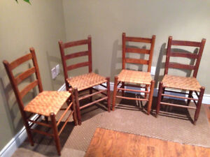 Antique Vintage Ladder Back Wicker Pegged Chairs