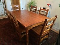 Large Dining Table with six chairs