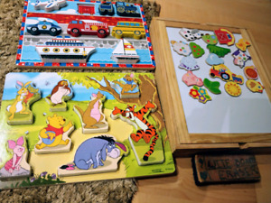 Puzzles and drawing board with magnets