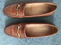 Women's Tan IItalian Leather Loafer Shoes UK Size 6.5