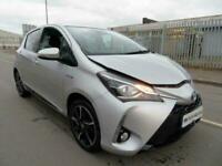 2018 Toyota Yaris Design VVT-I HEV CVT Auto Hybrid Silver Damaged Salvage CAT N