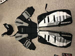 """Youth 20"""" Goalie Pads, Chest protector and neck Guard."""