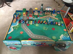 Wooden Thomas trains and table