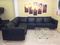 Very Big Black Leather Corner Sofa