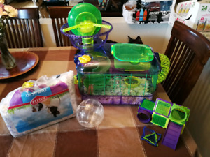 Hamster and cage and extras