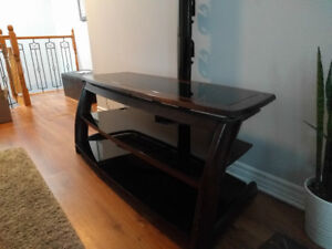 TV Stand for Sale - Dark Wood & Glass - $50