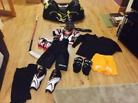 Full ice hockey kit. Including stick. Excluding stick. Bauer