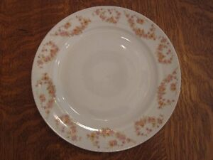 """Pair of 10"""" Meito China Dinner Plates-pink roses on rim, $10.@"""