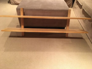 Wooden IKEA Shelf with rod and clips