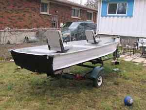 14 ft aluminum boat ready to fish