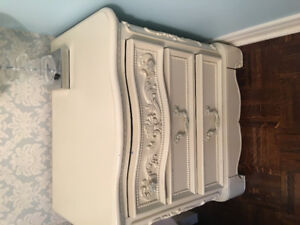 Girls Double /Queen antique white sleigh bed frame and night std