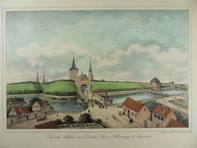 HAMBURG MILLERNTOR ST. PAULI NEUER WALL PETER SUHR ALTKOL LITHOGRAPHIE 1840 H22