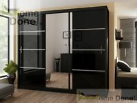 **7-DAY MONEY BACK GUARANTEE!**- Victor High Gloss Elegant Sliding Door Wardrobe -SAME DAY DELIVERY!