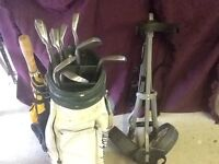 Golf bag, trolley and irons.