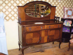 Unique Early Sideboard Buffet w/ Mirror London Ontario image 9