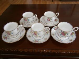 FIVE ROYAL ALBERT PETIT POINT PATTERN CUP AND SAUCERS