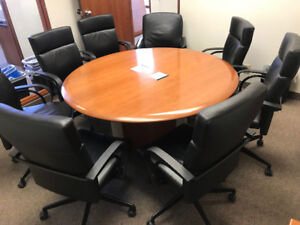 Solid Wood Conference Desk + Chairs (6)